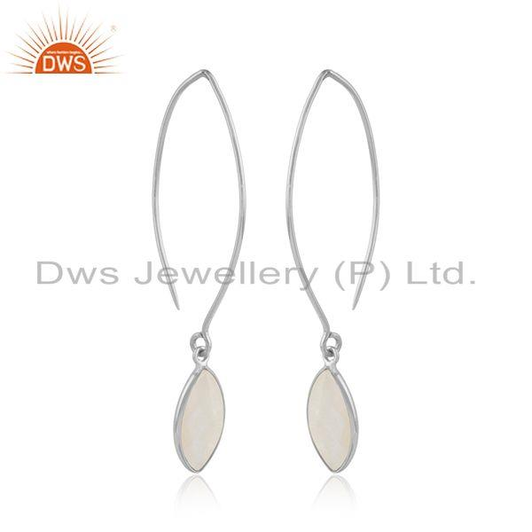 Rainbow moonstone designer 925 sterling fine silver hook earrings