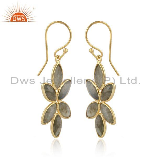 Labradorite gemstone womens 925 silver gold plated earrings