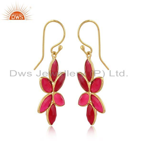 Pink chalcedony gemstone designer gold plated silver earrings