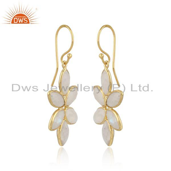 Flower 925 silver gold plated silver rainbow moonstone earrings