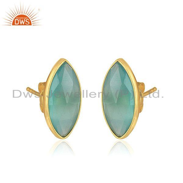 Exporter Aqua Chalcedony Gemstone Womens Gold Plated Silver Stud Earrings