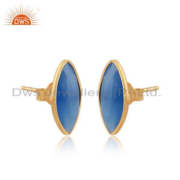 Marquise shape blue chalcedony gemstone gold over silver earrings