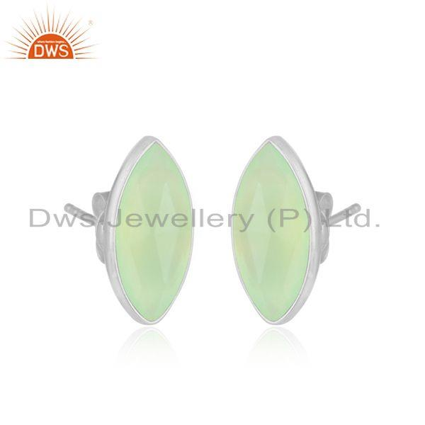 Prehnite chalcedony gemstone designer fine silver stud earrings