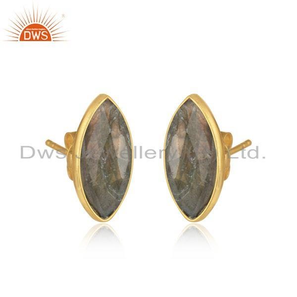 Labradorite gemstone womens gold plated silver stud earrings