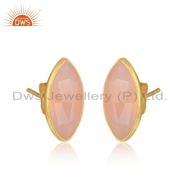 Rose chalcedony gemstone 18k gold plated silver stud earrings