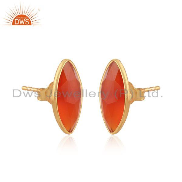 Red onyx gemstone designer gold over silver womens stud earrings