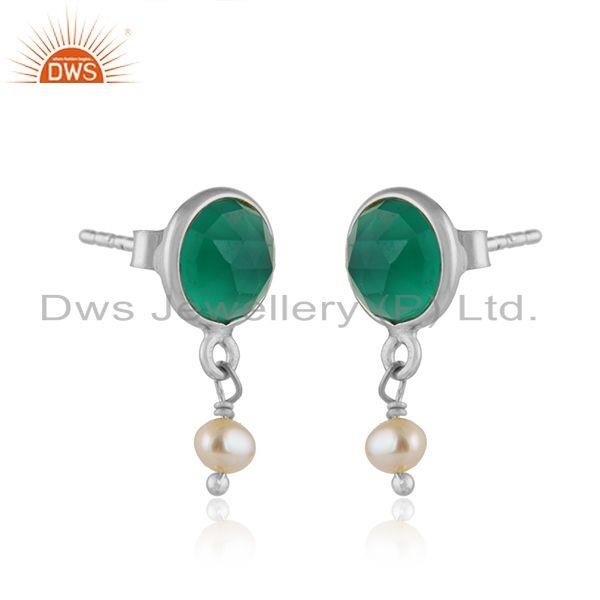Pearl green onyx gemstone fine sterling silver drop earrings