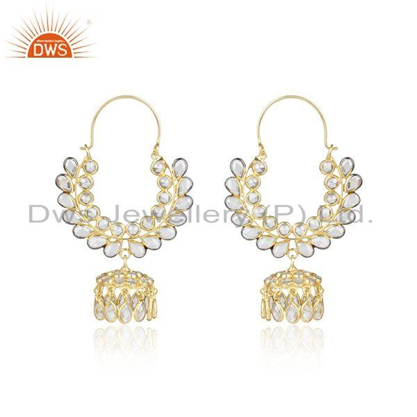 Cz gemstone traditional gold plated silver jhumka design earrings
