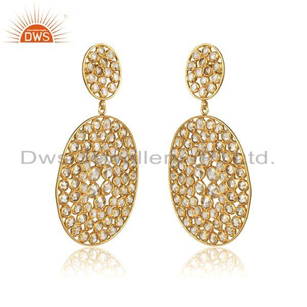 Yellow gold plated designer silver cz gemstone womens earrings