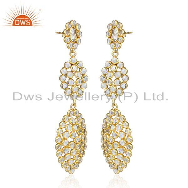 Handmade gold over silver white zircon gemstone dangle earrings