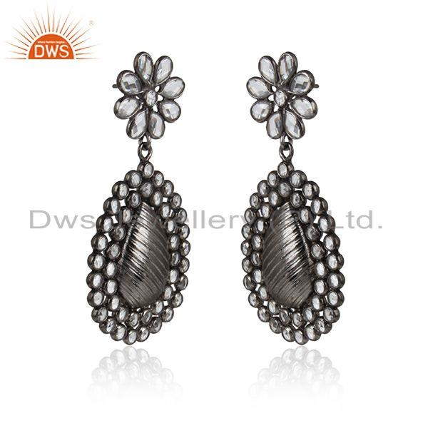 Pearl cz gemstone oxidized antique silver designer earring jewelry