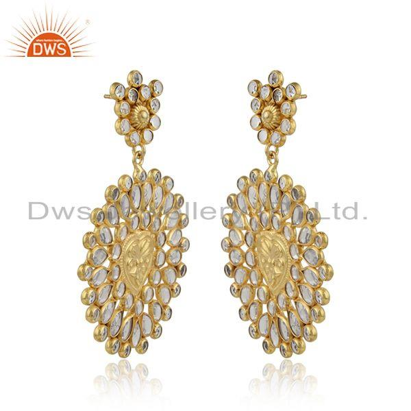 Round floral 18k gold plated silver designer cz earrings jewelry