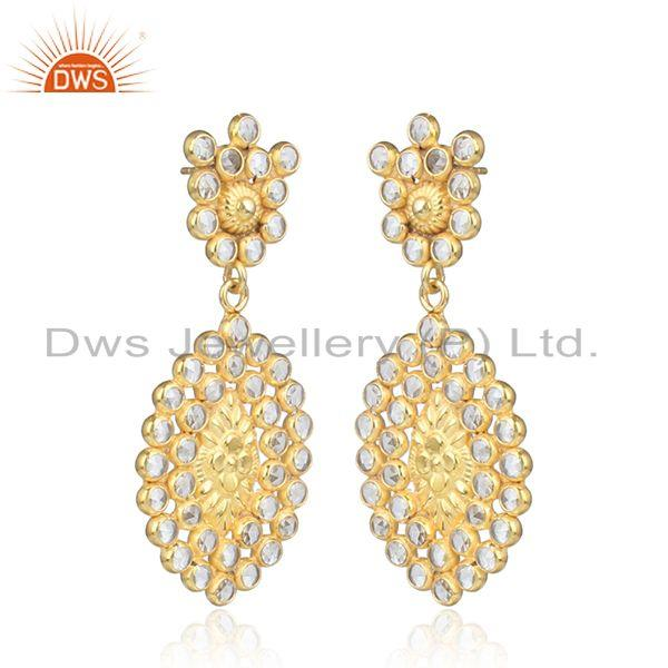 Marquise shape gold plated silver cz gemstone designer earrings