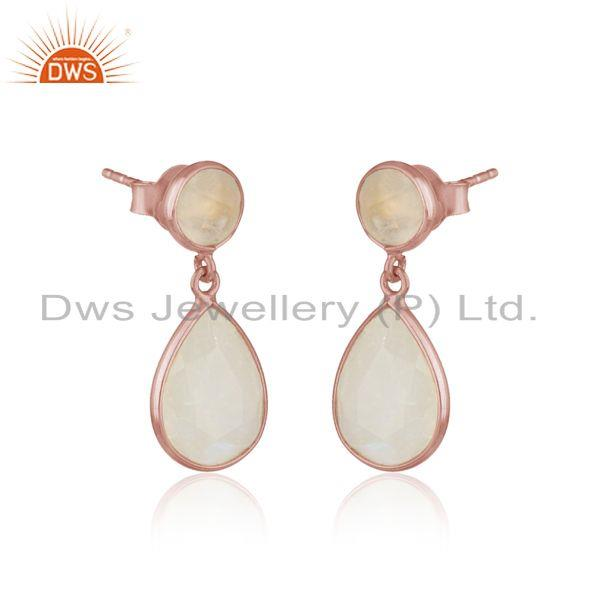 Dangle earriing in rose gold on silver 925 with rainbow moonstone