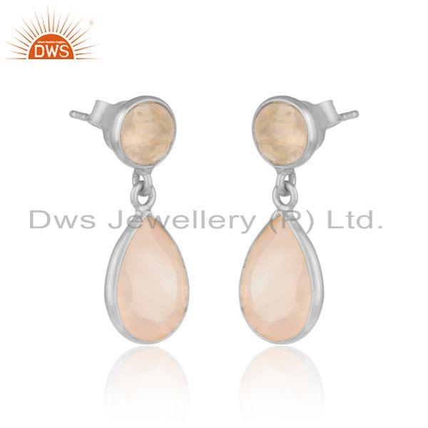 Handcrafted dangle earriing in silver 925 adorn with rose quartz