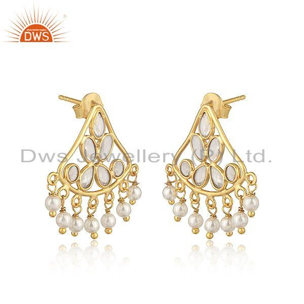 Traditional designer earring in gold on silver with pearl and cz