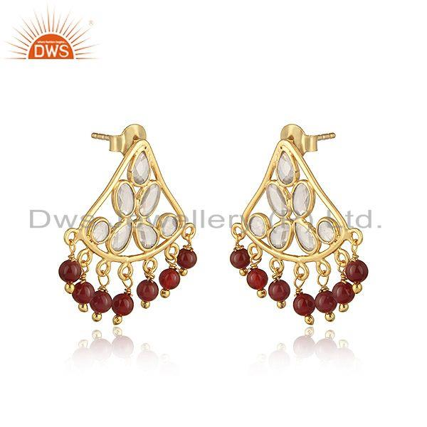 Traditional designer red onyx and cz earring in gold on silver