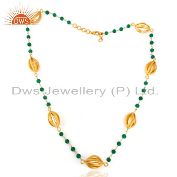 Exporter Artisan Crafted Gold Plated Green Onyx Beaded Sterling Silver Chain Necklace