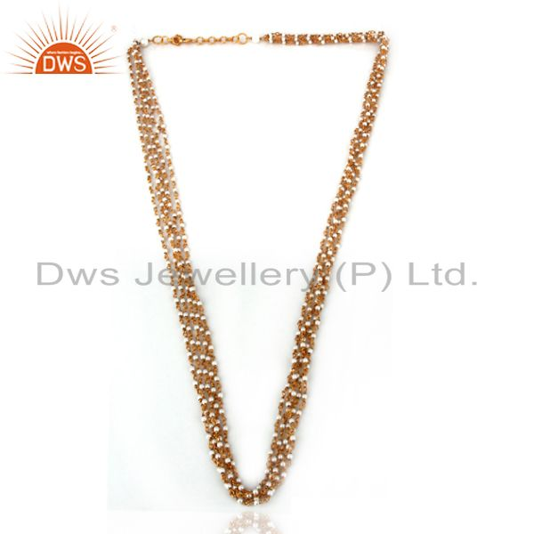 Exporter 18K Yellow Gold Plated Sterling Silver Pearl Beaded Four Layered Chain Necklace