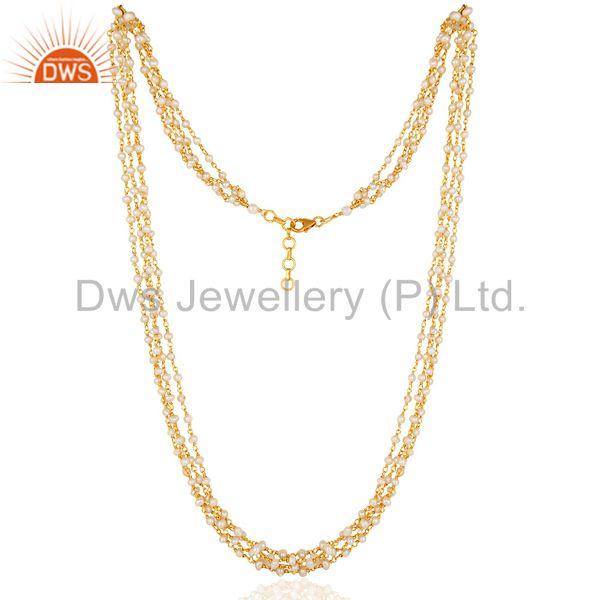 Exporter 18k Gold Plated Sterling Silver Natural Pearl Beaded Link Chain Necklace