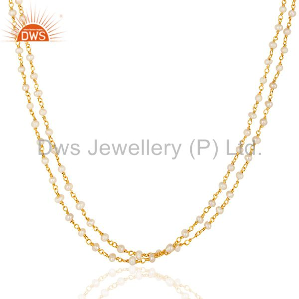 Exporter 14K Gold Plated Sterling Silver Pearl Beaded Double Strand Necklace