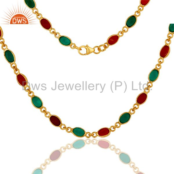Exporter 18K Yellow Gold Plated Sterling Silver Green Onyx And Red Onyx Chain Necklace