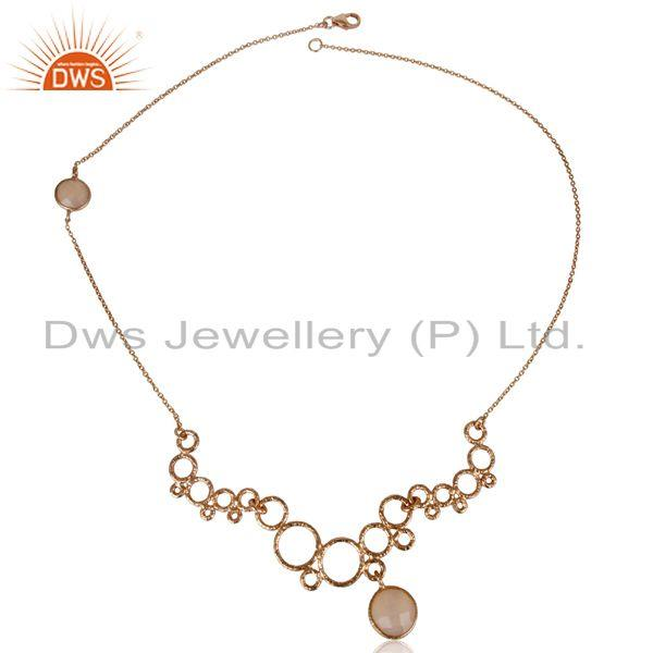 Exporter 14K Rose Gold Plated Sterling Silver Dyed Chalcedony Gemstone Chain Necklace