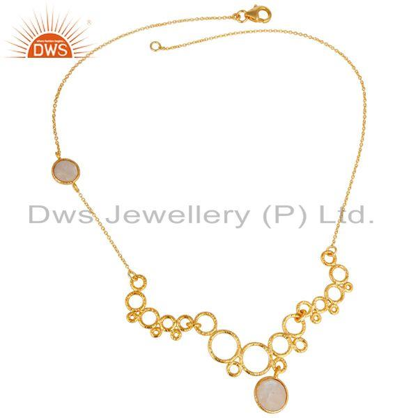 Exporter 14K Gold Plated 925 Sterling Silver Handmade Design Rainbow Moonstone Necklace