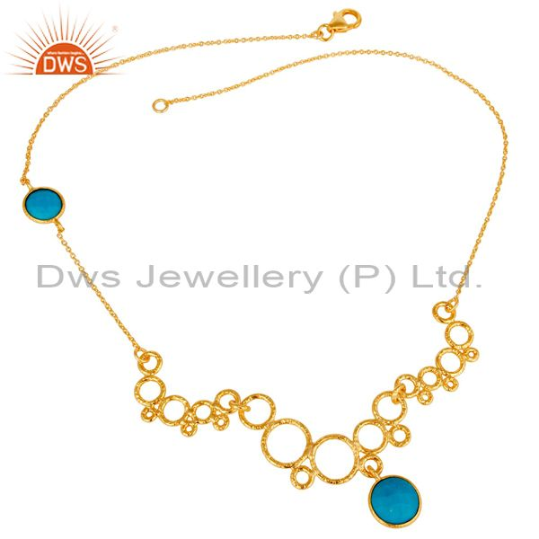 Exporter 14K Gold Plated 925 Sterling Silver Natural Turquoise Gemstone Chain Necklace