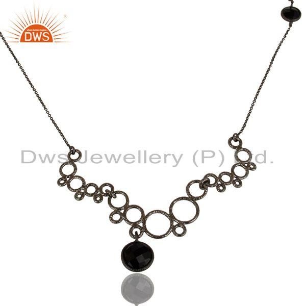 Exporter Oxidized 925 Sterling Silver Natural Black Onyx Gemstone Chain Necklace Jewelry