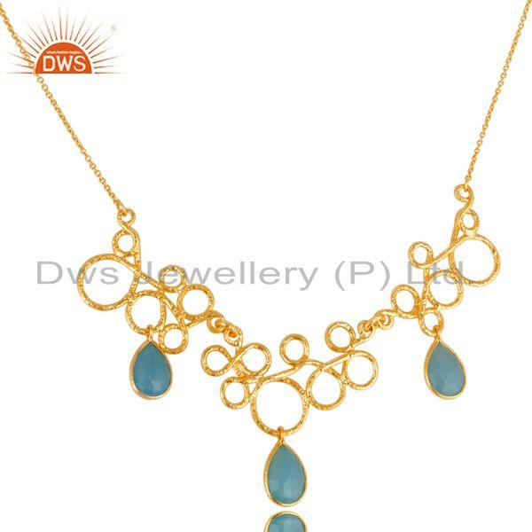 Exporter 14K Gold Plated 925 Sterling Silver Handmade Dyed Chalcedony Designer Necklace
