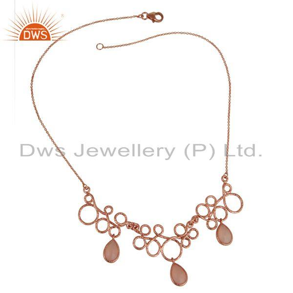 Exporter 14K Rose Gold Plated Sterling Silver Handmade Designer Dyed Chalcedony Necklace