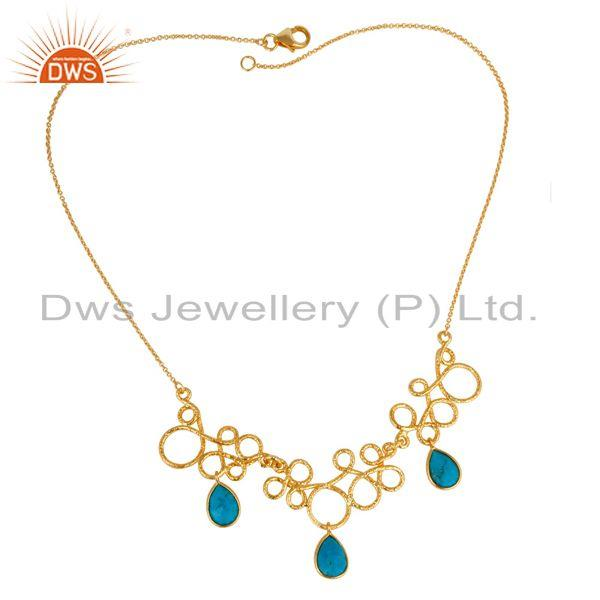 Exporter 14K Yellow Gold Plated 925 Sterling Silver Natural Turquoise Gemstone Necklace
