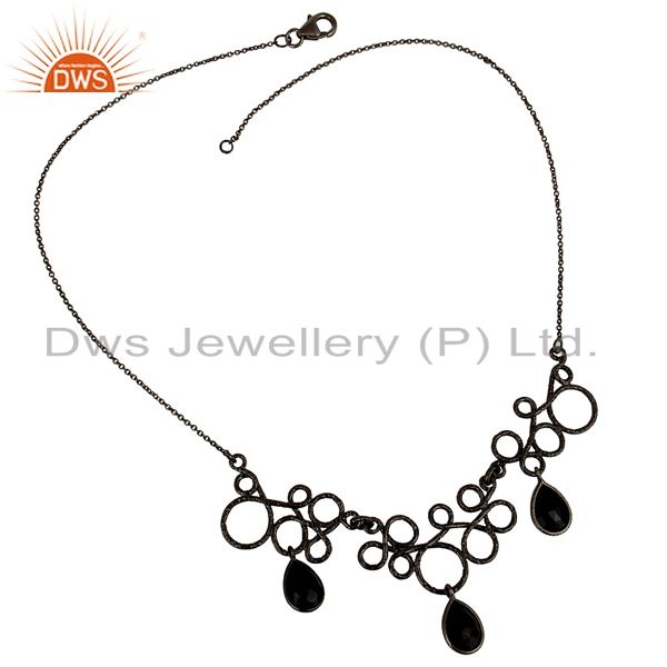 Exporter Black Oxidized 925 Sterling Silver Natural Black Onyx Gemstone Chain Necklace
