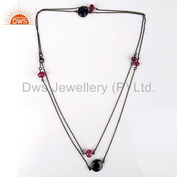 Exporter Natural Ruby & Blue Sapphire Gemstone Silver Necklace Jewelry Supplier