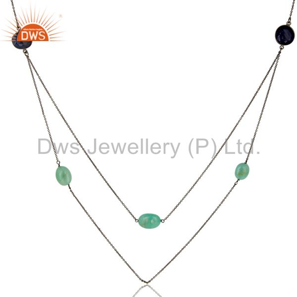 Exporter Oxidized 925 Sterling Silver Multi Color Sapphire 30 Inch Chain Necklace Jewelry