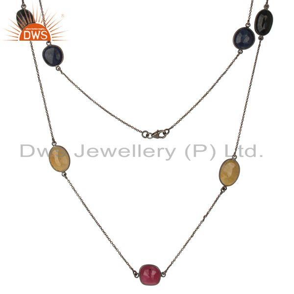 Exporter Multi Color Sapphire 48 Inch Chain Necklace Made In Oxidized Sterling Silver