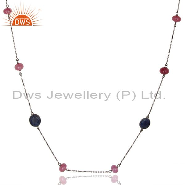 Exporter Oxidized 925 Sterling Silver Ruby Beads & Blue Sappire 48 Inch Chain Necklace