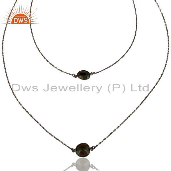 Exporter Black Oxidized 925 Sterling Silver Handmade Blue Sapphire 22 Inch Chain Necklace