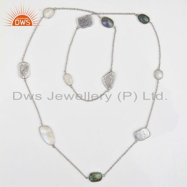 Exporter Multi Gemstone Bezel Set Sterling Silver White Rhodium Plated Long Necklace