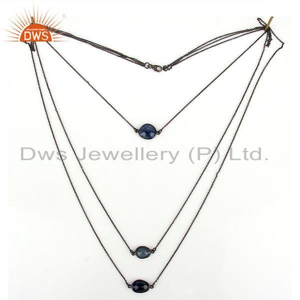 Exporter Natural Blue Sapphire Gemstone 925 Silver Chain Necklace Jewelry