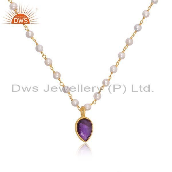 Amethyst set gold on sterling silver pendant and necklace