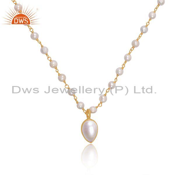 Pearl set gold on 925 sterling silver pendant and necklace