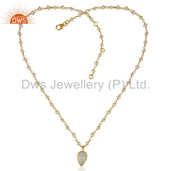 Exporter Rainbow Moonstone Pearl 14K Gold Plated Sterling Silver Pendant Necklace Jewelry