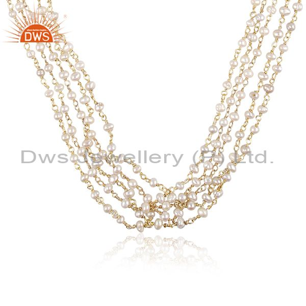 Exporter Gold Plated Natural Pearl Gemstone Beads Necklace Jewelry Supplier