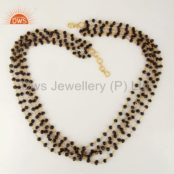 Exporter Natural Black Onyx Gemstone Beads Gold Plated Silver Necklace Jewelry