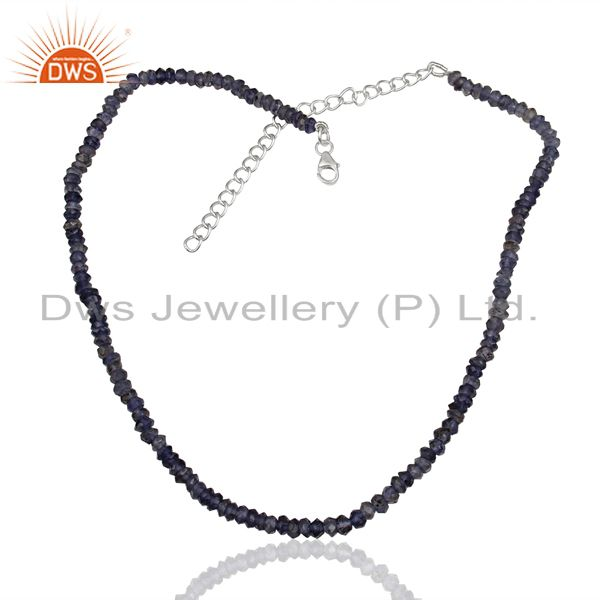 Exporter Iolite Gemstone Design Gold Plated Silver Necklace Jewelry Manufacture