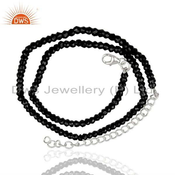 Exporter Black Spinal Gemstone Sterling Silver Womens Necklace Jewelry Supplier