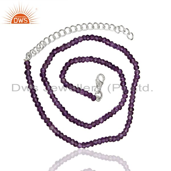 Exporter Natural Amethyst Gemstone Sterling Fine Silver Chain Necklace Supplier