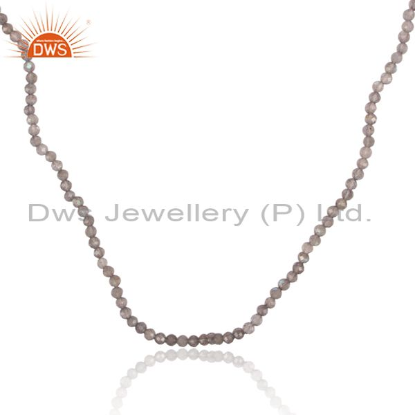 Exporter Beaded Labradorite Gemstone 925 Silver Necklace Jewelry Manufacturers